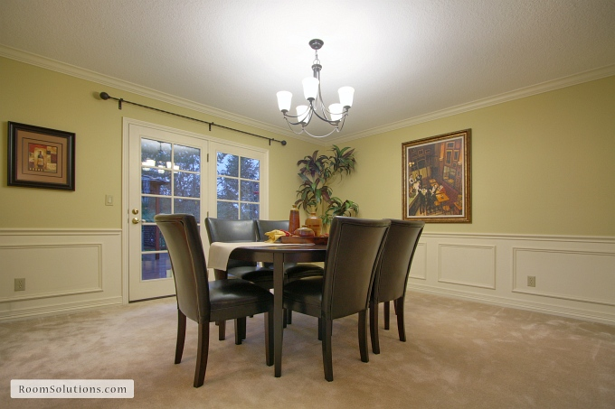 after photo of freshly painted and staged dining room