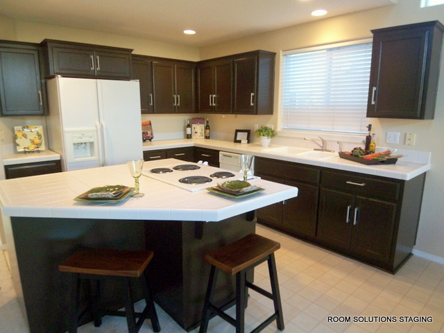 Home Staging Tip Dated Oak Cabinets Update Them With Paint