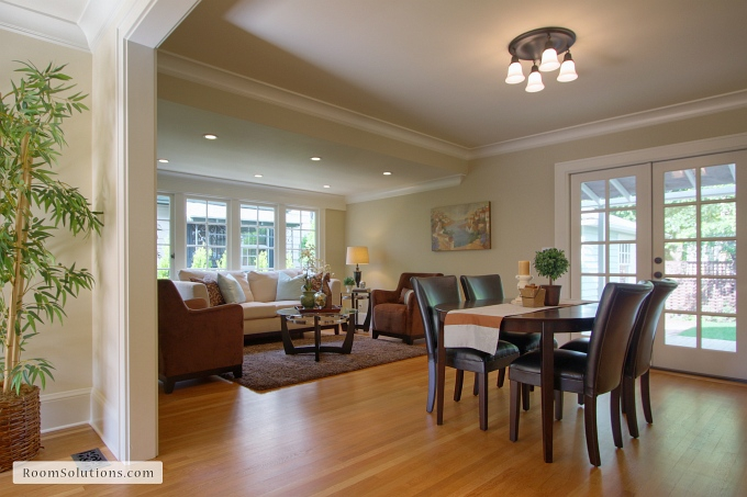 family room after remodeling and staging