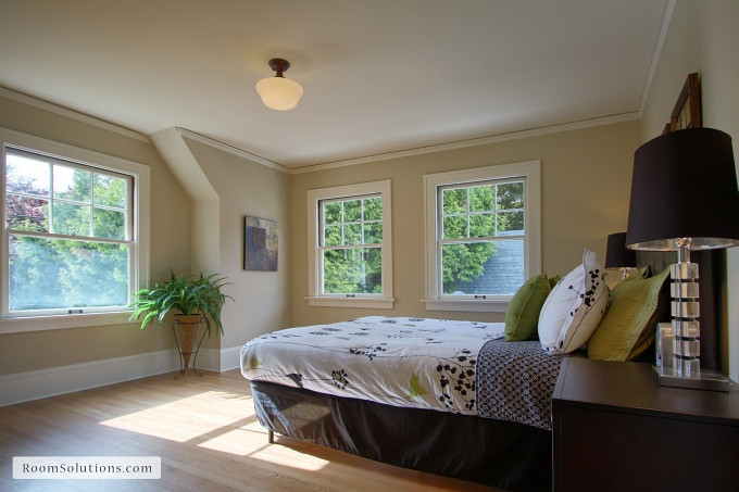 Master bedroom after remodeling and staging