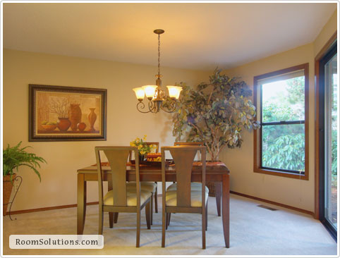Home staging of (occupied) dining room by Room Solutions Staging in Portland, OR